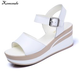 489b857b5233 wedge flat platform sandal Canada - Xemonale 2018 Women Sandals White Flat Sandals  Wedges Heel Summer