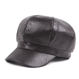 Wholesale Artistic Leather - Women's Hat Autumn And Winter Do Old Fashion Newsboy Caps Warm Leather Cap Female Hat Artistic Young Casual Tongue Cap For Adult