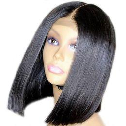 малайзийские волосы боб Скидка 360 парик шнурка Bob человеческих волос парик шнурка Малайзийских девственницы волос Pre-сорвал Волосяный Покров плотность 150% С волосами младенца Glueless