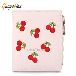 Wholesale Ladies Cherry - Guapabien Women Wallet PU Leather Zipper Pouch Short Clutch Cherry Print Purse Light Pink