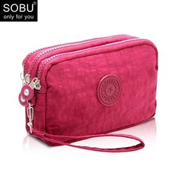Wholesale Felt Fabric Squares - 2018 New Coin Purse Women Small Wallet Washer Wrinkle Fabric Phone Purse Three Zippers Portable Make Up Bag N075