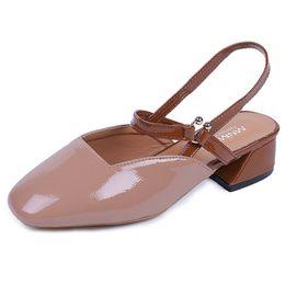 Frau Sommer Schuhe Sling Zurück 4 CM Dicke High Heels Schuhe Frau Square Toes Pumps Damen Komfort Karriere Kleid Schuhe Beige Khaki