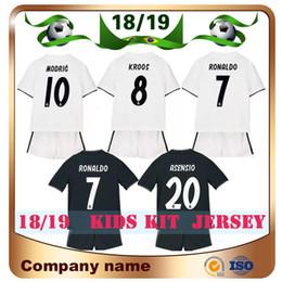 d894d4a6d4a8f 18 19 Kit para niños Real Madrid Home White   7 RONALDO Jersey de fútbol  2018 Visitante ASENSIO MODRIC RAMOS MARCELO BALE ISCO BENZEMA Camiseta de  fútbol ...