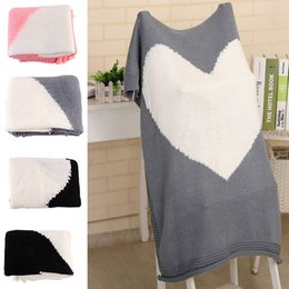 Wholesale Crochet Baby Blankets - 100*78cm Love Heart knitted Blankets Baby Kids Newborn Air Condition Wool Quilts Sofa Home Swadding Blanket Gifts WX9-223