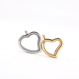 Wholesale Sliver Heart Necklace - 2018 New Arrival Stainless Steel Heart Sliver Gold Glass Floating Locket Jewelry Pendant for Valentine's Day