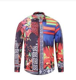Wholesale Silk Mens Long Shirt - Wholesale Spring Autumn Winter Social long sleeve 3D Floral printed dress shirt for men animal 3d print slim fit mens casual shirts top