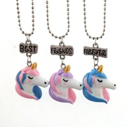 Wholesale Acrylic Necklace Kids - Best Friends Forever Unicorn Necklace Unicorn Figure Pendants with Stainless Steel Chain Fashion Jewelry for Women Kids DROP SHIP 162666