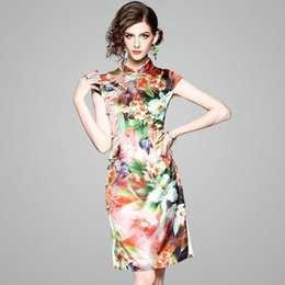 Wholesale Oriental Print Dress - 2018 Oriental Dress Qipao Lily Printing Short Sleeve Cheongsam Dress Chinese Traditional Dress Slim Short Cheongsam S-XXL