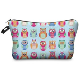 Sacchetto cosmetico del gufo online-2018 Fashion 3d Digital Printed Cosmetic Bags Owl Women Zipper Make Up Bag Borsa da viaggio impermeabile Wash Make Up Tools Storage