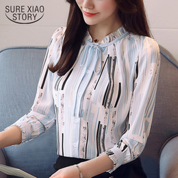 7159c4b4798f9 Discount office blouses women - 2018 new spring fashion chiffon shirts long  sleeved blouses bow print