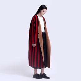 Wholesale Wool Overcoat Design Women - CH008 Original Design handmade double face wool vertical striped oversized long maxi reversible winter overcoat wool coat women