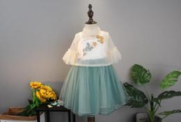 Filato coreano online-Principessa ragazza vestito bambina bambino bambini versione coreana Chao fan bianco di cheongsam gonna filato stile cinese wt1718