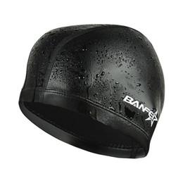 e050072ab6f swimming caps for men Promo Codes - Elastic Waterproof PU Fabric Swim Cap  Ears Long Hair