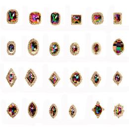 2019 piedras preciosas de cristal de artesanía 24 unids / set Crystal AB Rhinestones del arte del clavo encantos del color de las gemas piedras para uñas decoración artesanía maquillaje ropa DIY # 276303 piedras preciosas de cristal de artesanía baratos
