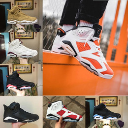 Wholesale Black Basketball Sneakers - With Box 2018 Mens Retro 6 6s Basketball Shoes Gatorade UNC wheat Black Cat AAA+ quality Womens sport Trainers Sneakers US 5.5-13