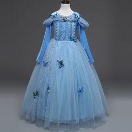 Falda de abrigo azul online-2019 Nuevo vestido congelado Celeste Vestidos de invierno Escudo de manga larga Princesa Fiesta Vestido completo Falda de rendimiento 3-8T Envío gratis en stock