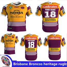 Wholesale marvel purple - 2018 NRL JERSEYS BRISBANE BRONCOS heritage Rugby Marvel iron man jersey Rugby Jerseys Free shipping rugby shirts size S -3XL (Can print)