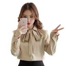Wholesale Womens Office Shirts - Spring Summer Pleated Bow Lace Up Blouse Women Shirt Solid Slim Womens Tops and Blouses Silk Cotton Office White Blouse MY640