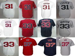 Wholesale Bill White Baseball - New Mens Womens Kids Boston 31 Jon Lester 33 Jason Varitek 37 Bill Lee Grey White Blue Red Baseball Jerseys
