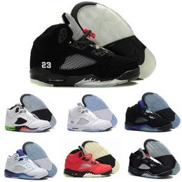 Wholesale Grape Boxes - High Quality 5 5s Black Metallic 3M Reflect Black Grape Oreo Basketball Shoes Men 5s Red Suede CDP White Cement Sneakers With Box