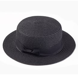 78b3ea0b24d Lady Boater sun caps Ribbon Round Flat Top Straw beach hat Panama Hat  summer hats for women straw snapback gorras wholesale