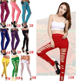 Wholesale girls clubwear - 10 Colors Women Girls Skinny Ripped Pants Stretch Slim Pencil Trousers Leggings Clubwear Candy Color Cut Out Slim Hole Pants AAA243
