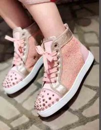 Wholesale Gold Snake Shoes - Women Red Bottom Spikes shoes for Women puple white gold Rhinestone Gitter Luxury Brand High Top Spring Autumn Flats Sneakers snake