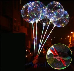 Светодиодные лампы онлайн-Instagram Hot sale led ballons яркий пузырь свет воздушный шар с блеском светодиодные ленты украшения партии с Полюсом в руке