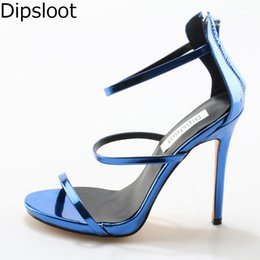 Wholesale Women Shiny Flat Shoes - Summer Ladies Concise Solid Shiny Leather Straps Stiletto High Heels Sandals Women Sexy Gracile Strappy Party Dress Shoes EU 46