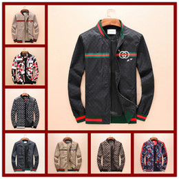 Wholesale 3d luxury - 2018 Hot High Quality Brand Snake Print Stand Collar Jacket Luxury Famous Brands Men's Fashion Spring And Autumn 3D Jacket Size M-3XL
