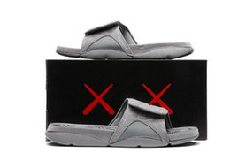 Wholesale Basketball Sandals - Wholesale new Air Retro 4s KAWS x Hydro 4 Cool Grey slippers IV sandals Slides basketball shoes sneakers Glow in dark size 7-12