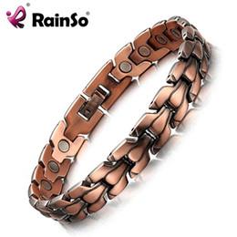 2019 pulseiras rainso RainSo Pulseira Magnética de Cobre dos homens Pulseiras de Energia Bio Saudável Bangles Pulseiras de Cobre de Qualidade Superior de Jóias de Cobre Vermelho desconto pulseiras rainso