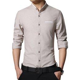 Vêtements d'affaires coréens en Ligne-Nouveau Mode Casual Hommes Chemise À Manches Longues Col Mandarin Slim Fit Shirt Hommes D'affaires Coréenne Hommes Vêtements Chemises Hommes Vêtements 5xl En Gros