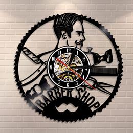 Pendule en Ligne-1 Pièce Salon De Coiffure Vinyl Record Horloge Murale Creative Timepiece Idées Cadeaux pour Barber Shop Art Décor Suspendus Horloges