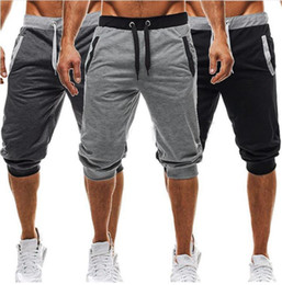 Wholesale outdoor running pants - Men Gym Shorts Casual Mens Pants Tracksuit Sports Bottoms Cotton Fitness Workout Skinny Joggers Running Shorts For Boys Outdoor