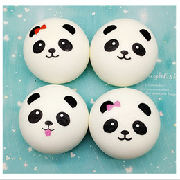 Wholesale Kawaii Panda - 2018 Fashion 10cm Cute Kawaii Soft Scented Squishy Jumbo Panda Slow Rising Squeeze Bun Toy Phone Charm Squishies Bread Toy Gift