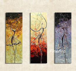 Óleo, pintura, dançarino, abstratos on-line-Pintados à mão 3 peça ballet dancer pintura a óleo da lona meninas arte abstrata pintura moderna arte presente original