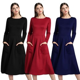 Wholesale Hot Sale Dresses For Work - 2018 Autumn New Halter Dresses Europe and America Style Crew Neck Dress pOCKET long-sleeved Dress Hot Sale Casual dresses for girl