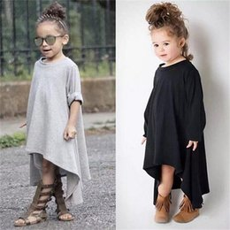 Wholesale popular baby clothing - INS Popular Party Asymmetrical Dresses 2018 Spring Autumn Kid Clothes Girls Tutu Skirt Children Baby Clothes Casual Cotton Solid Black Gray