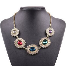 Wholesale Multi Chain Bib Necklace - Cheap Multi Colors Crystal Pendant Gold Chain Bib Statement Fashion Necklace 2018 Jewelry for Girls