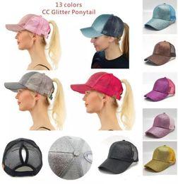 Wholesale Lady Hats Wholesale - 13 colors CC Glitter Ponytail breathable mesh baseball cap men's ladies bag summer truck Gorras shiny gold shining ladies hat