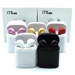 Bluetooth наушники I7 I7S TWS Близнецы наушники мини беспроводные наушники гарнитура с микрофоном стерео V4.2 для Андроид телефона с розничным пакетом от