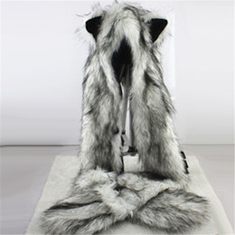 Wholesale Mitten Scarf - Women Fashion Wolf Ears Paws Faux Fur 3 in 1 Hat Scarf Mittens Winter Warm Cap