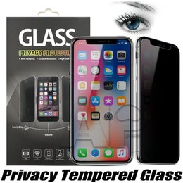Wholesale Anti Glare Protectors - For Iphone X Privacy Screen Protector Shield Anti-Spy Real Tempered Glass For Iphone 8 7 6S Plus With Retail Package