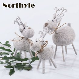Wholesale Miniature Christmas Ornaments - wool reindeer christmas figurine decoration xmas miniatures christmas decorations for home navidad gift christmas ornaments