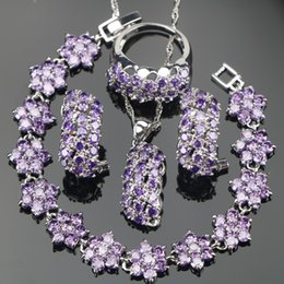 Wholesale Purple Costume Jewelry - whole saleBridal Purple Zircon Silver 925 Costume Jewelry Sets Bracelets Earrings With Stones Pendant Necklace Rings Set Jewelery Gift Box