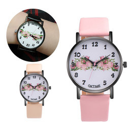 Wholesale Cheap Leather Watches Women - Cheap Watches For Women Vogue Flowers Design Dial Analog Quartz Watch Lady Dress Clock Women's PU Leather Bracelet Watches #JO