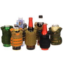 Argentina Camping Tactical Botella de Cerveza Cubierta Mini Chaleco Forma de Nylon Ajustable Desmontable Bebidas DIY Puede Botellas de Agua Decoración KTV Bar NY046 supplier shape vest Suministro