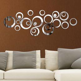 Круглая стенная панно онлайн-DIY Circles Wall Mirror Stickers  Art Mural Wall Sticker Room Decoration Sofa TV Background Home Wall Decor Dropshipping