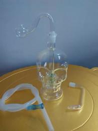 Wholesale bone skulls - Transparent skull bone hookah Wholesale Glass bongs Oil Burner Glass Water Pipes Oil Rigs Smoking Free